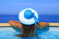 1047_ - Woman with Hat in Pool